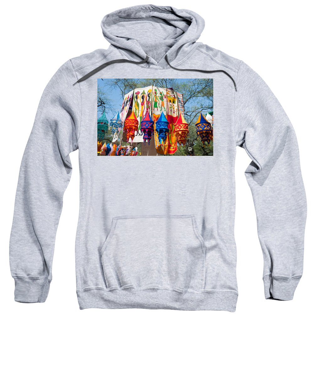 Banner Sweatshirt featuring the photograph Colorful Banners At Surajkund Mela by Ashish Agarwal