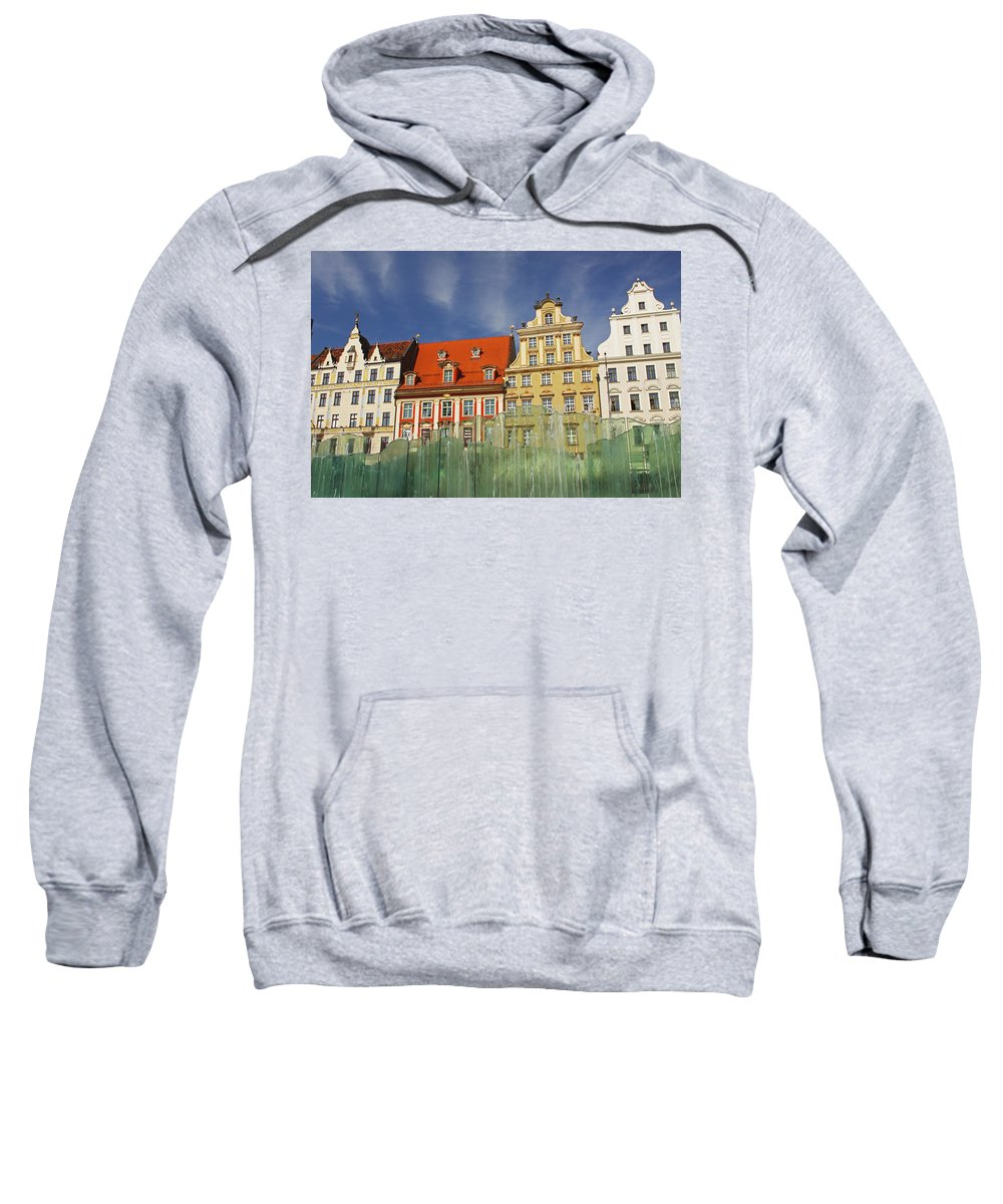 Buildings Sweatshirt featuring the photograph Colourful Buildings And Fountain by Trish Punch
