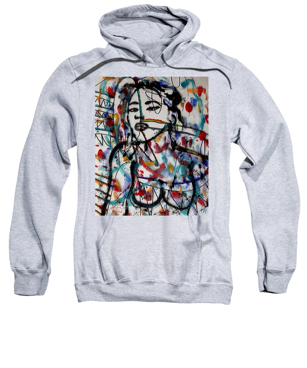Nude Sweatshirt featuring the mixed media Complicated Woman by Natalie Holland