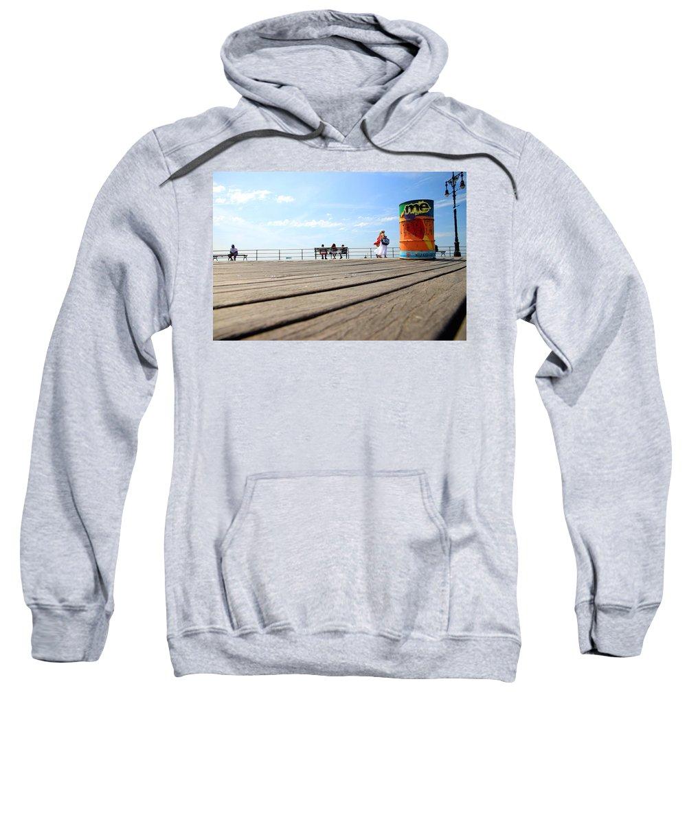 Coney Island Sweatshirt featuring the photograph Coney Island Boardwalk by Valentino Visentini