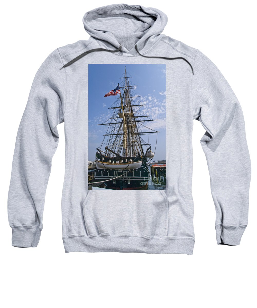Uss Constitution Sweatshirt featuring the photograph Constitution Stern by Tim Mulina