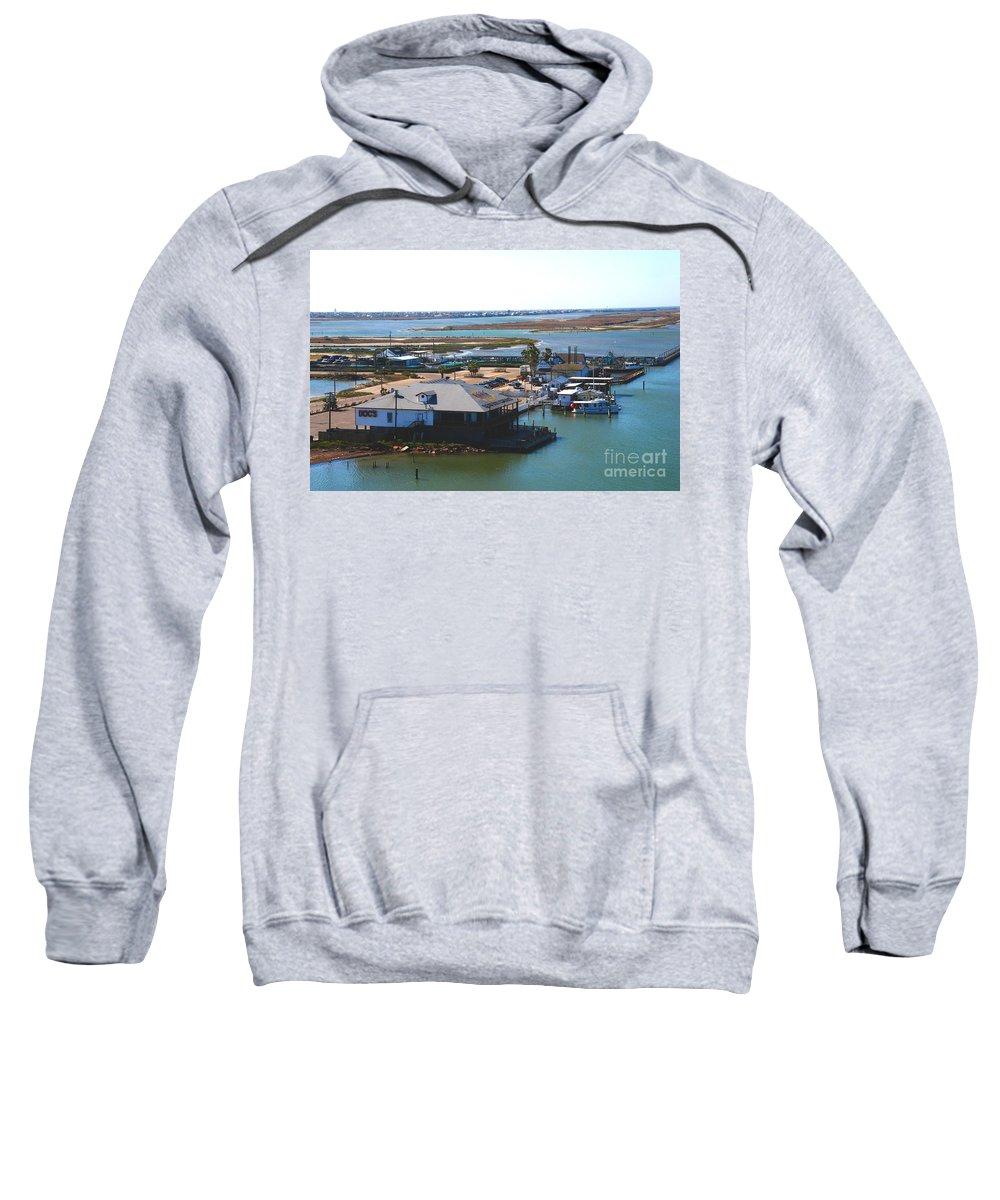 Corpus Christi Sweatshirt featuring the photograph Corpus Christi Bay Towards Mustang Island Texas by Susanne Van Hulst