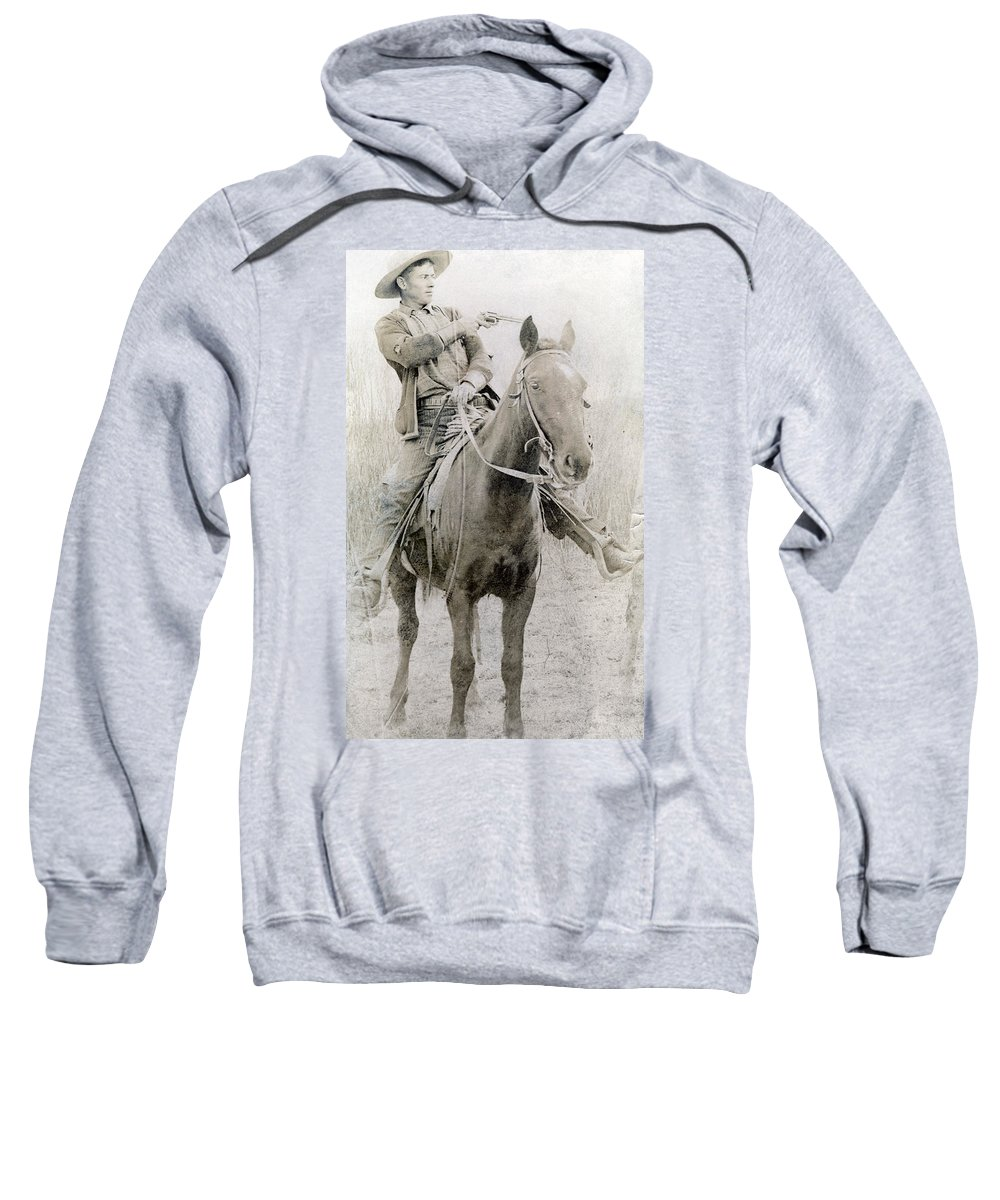 1900 Sweatshirt featuring the photograph Cowboy Robber, C1900 by Granger
