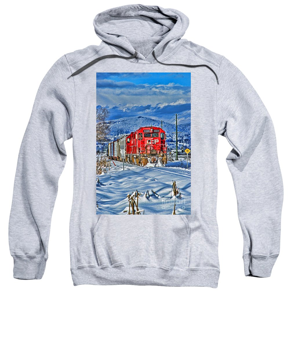 Trains Sweatshirt featuring the photograph Cp Rail Train In Winter Hdr by Randy Harris