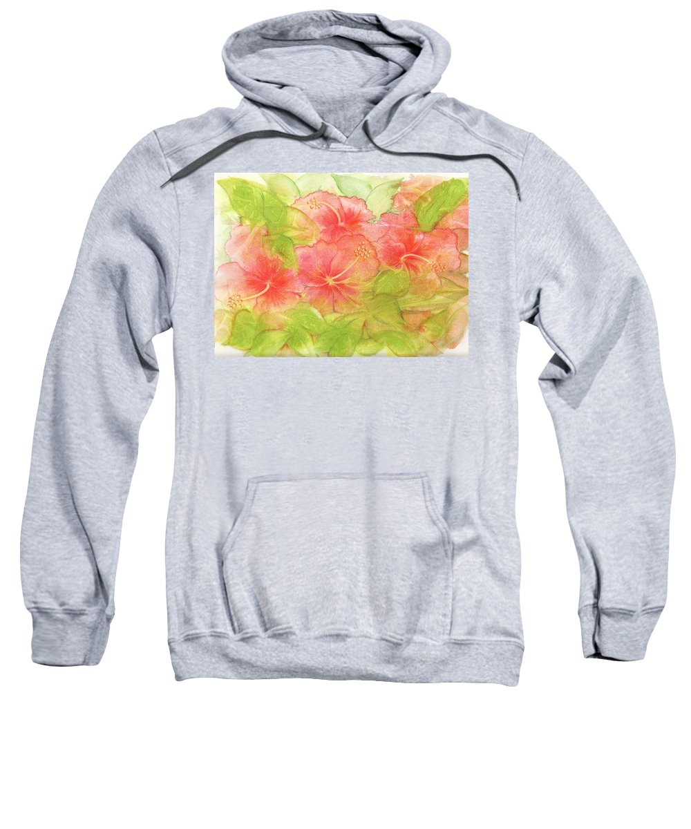 Hibiscus Sweatshirt featuring the painting Creamsicle Hibiscus by Carla Parris