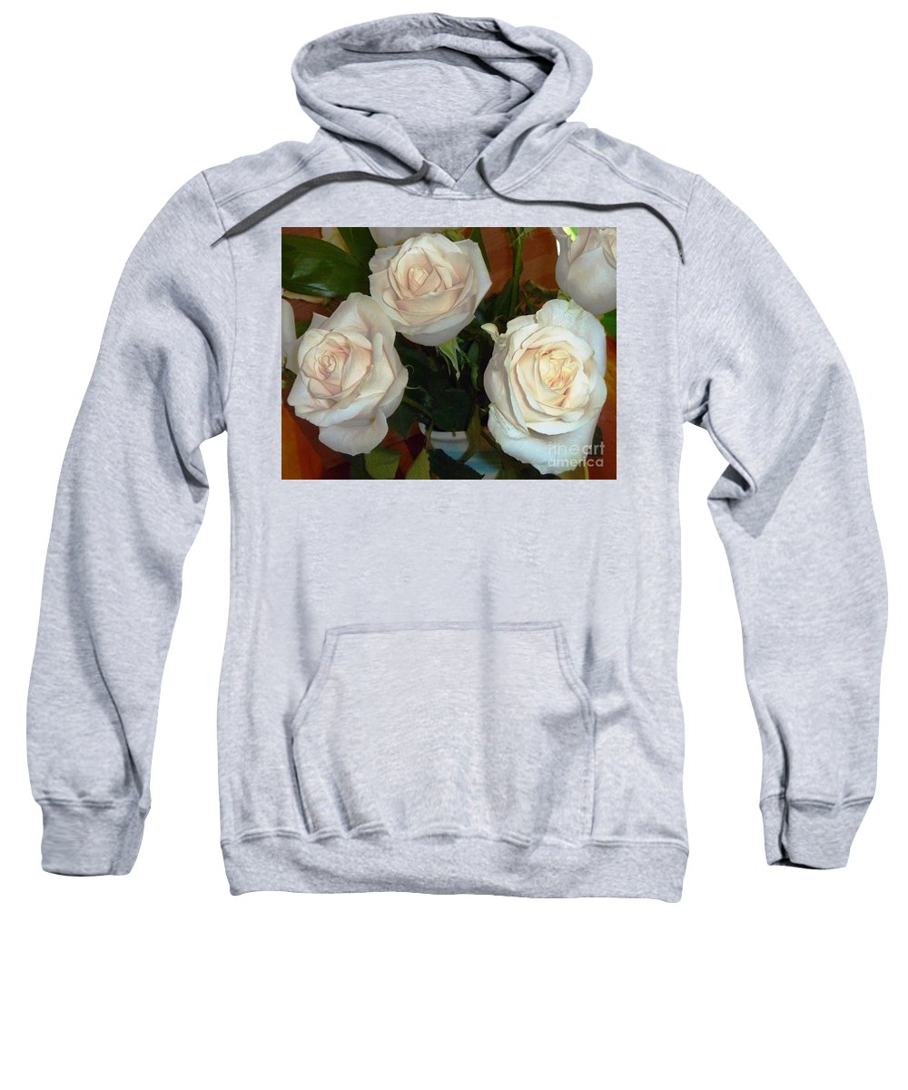 Roses Sweatshirt featuring the photograph Creamy Roses II by Alys Caviness-Gober