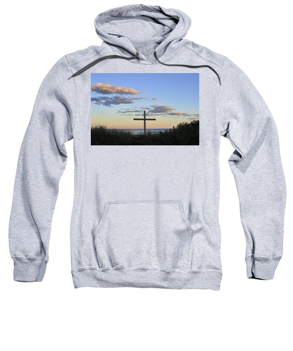 Ocean Grove Nj Cross On Beach Sweatshirt featuring the photograph Ocean Grove Nj Cross On Beach by Terry DeLuco
