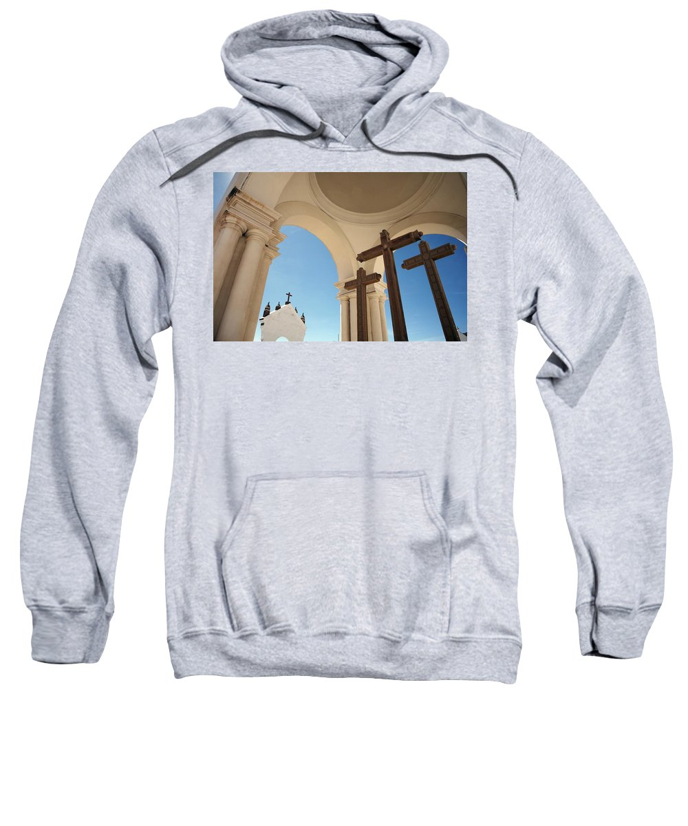 Color Image Sweatshirt featuring the photograph Crucifix At Basilica Of Our Lady Of by Axiom Photographic
