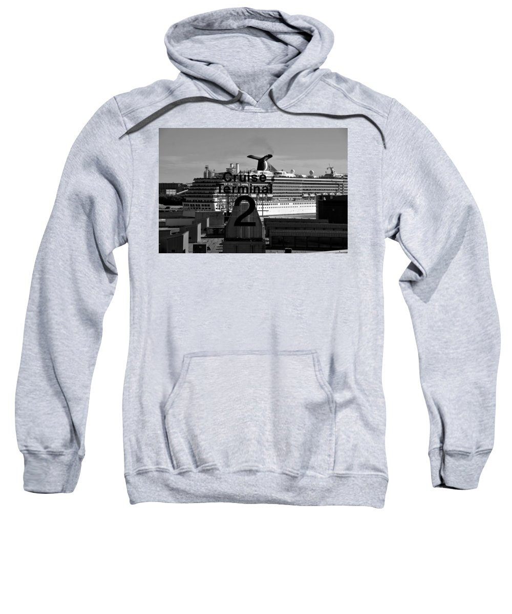 Fine Art Photography Sweatshirt featuring the photograph Cruise Terminal Two by David Lee Thompson