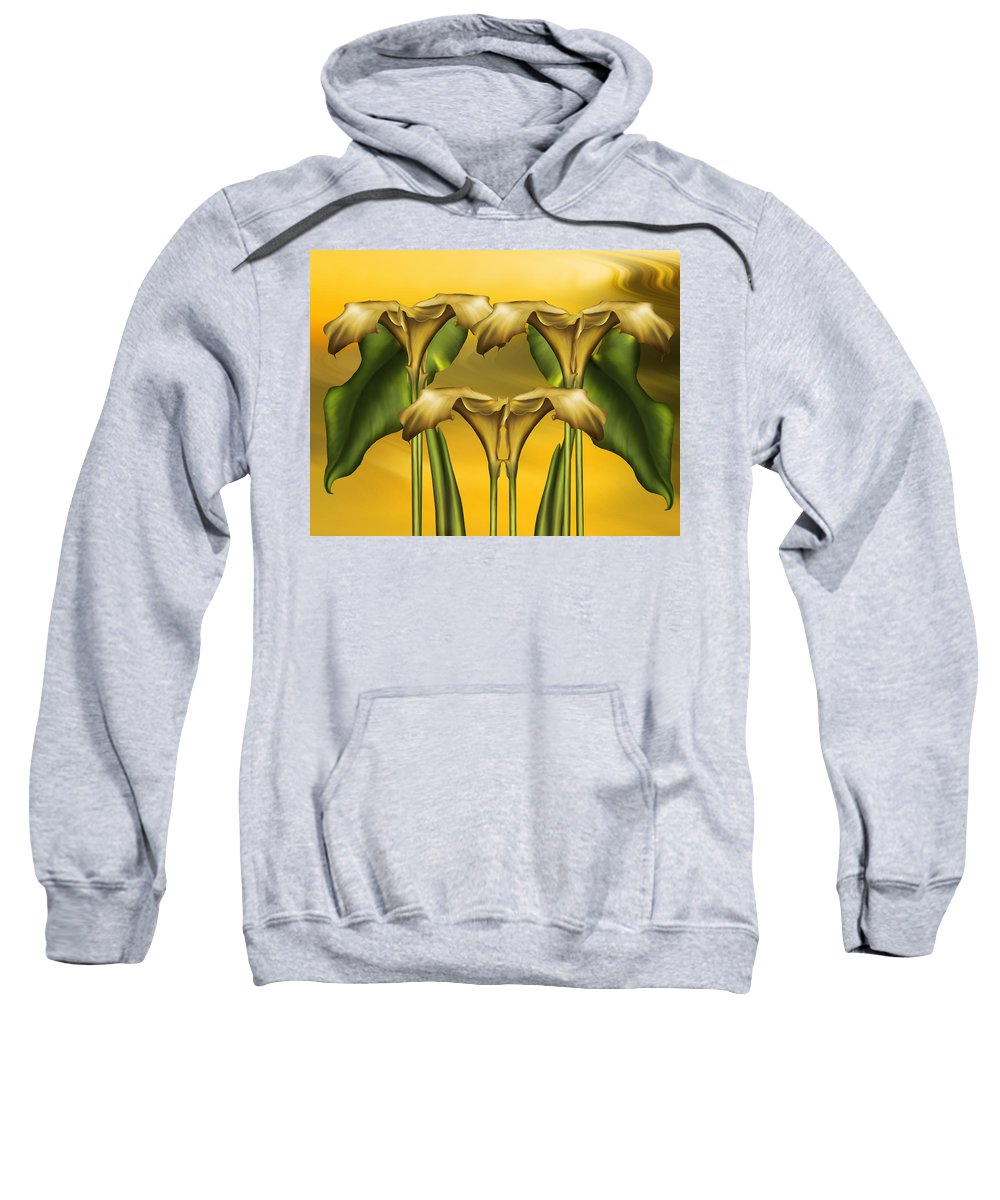 Abstract Realism Sweatshirt featuring the digital art Dance Of The Yellow Calla Lilies by Georgiana Romanovna
