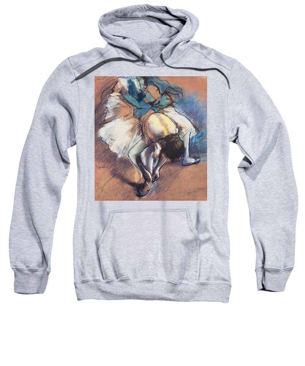 Edgar Degas Sweatshirt featuring the pastel Dancer Fastening Her Pump by Edgar Degas
