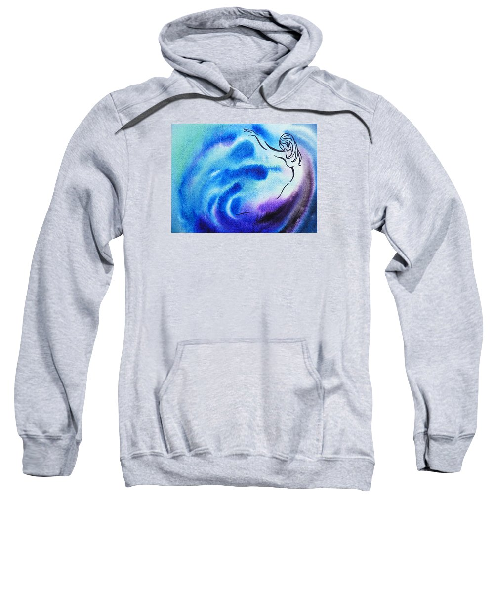 Abstract Sweatshirt featuring the painting Dancing Water I by Irina Sztukowski