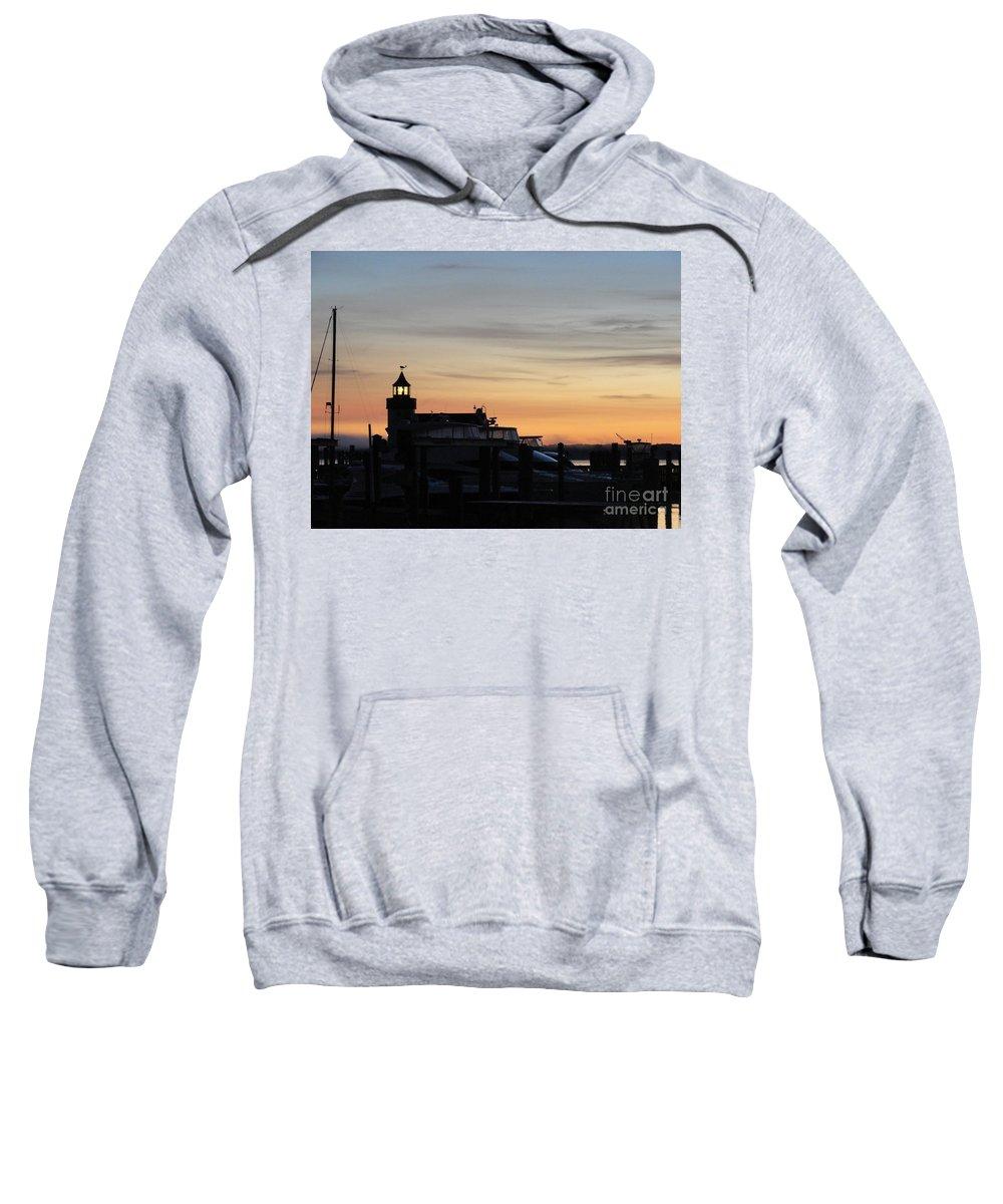 Old Saybrook Sweatshirt featuring the photograph Dawn At Saybrook Dock by Meandering Photography