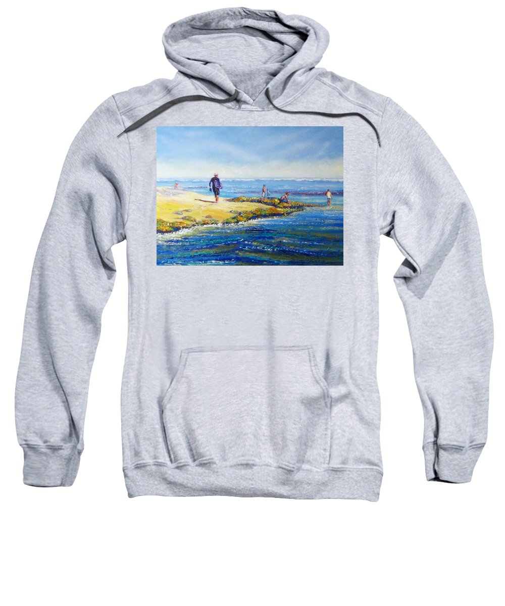 Beach Sweatshirt featuring the painting Day Out At Coloundra Beach Queensland2 by Diane Quee