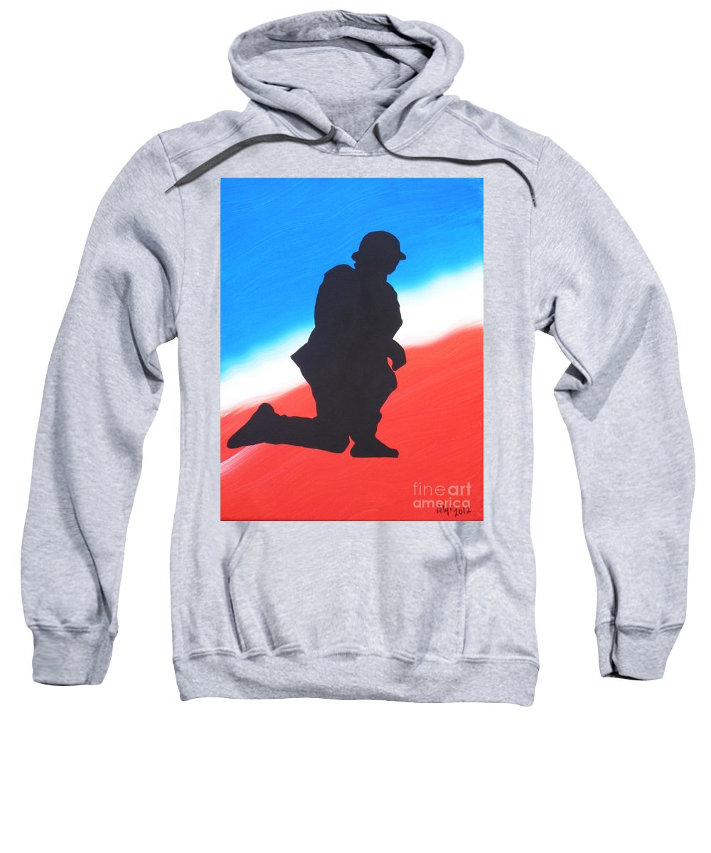 Desert Duty Sweatshirt featuring the painting Desert Duty I by Alys Caviness-Gober