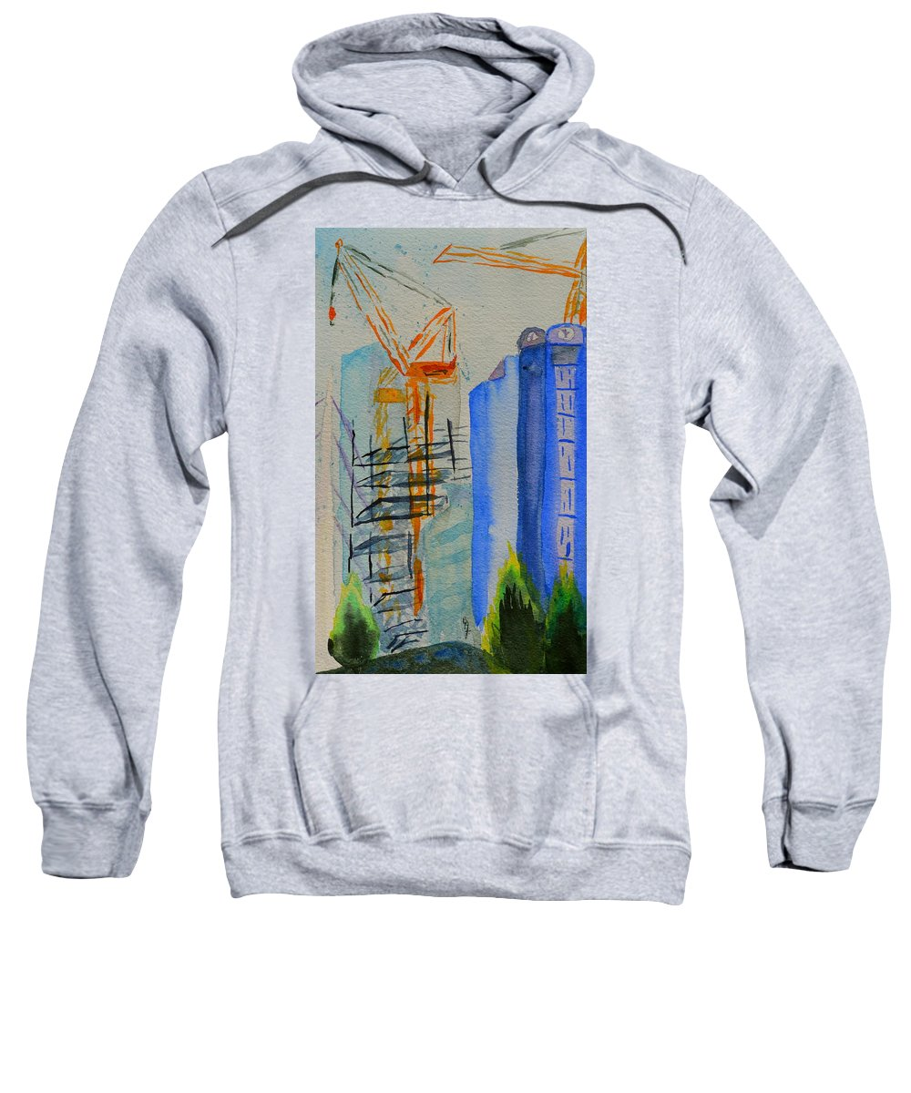 Cranes Sweatshirt featuring the painting Development by Beverley Harper Tinsley