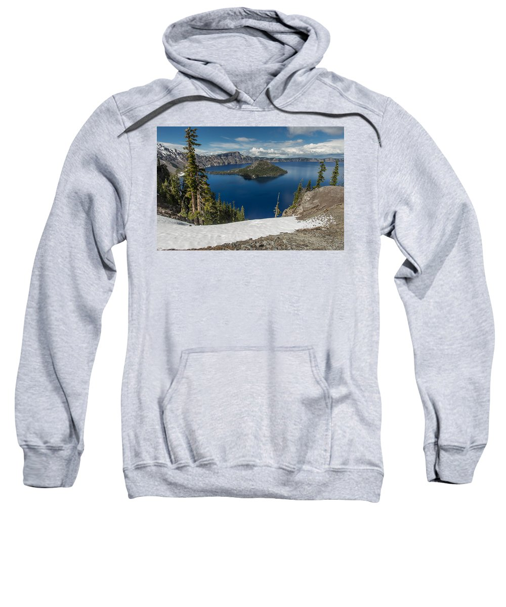 Cascades Sweatshirt featuring the photograph Discovery Point And Wizard Island by Greg Nyquist