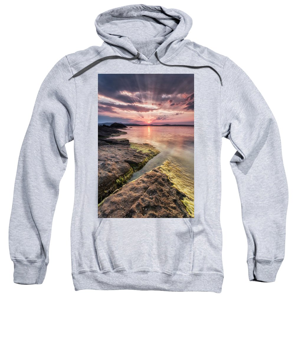 Black Sea Sweatshirt featuring the photograph Divine Sunset by Evgeni Dinev