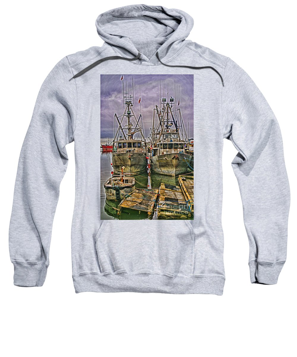 Boats Sweatshirt featuring the photograph Docked Fishing Boats Hdr by Randy Harris