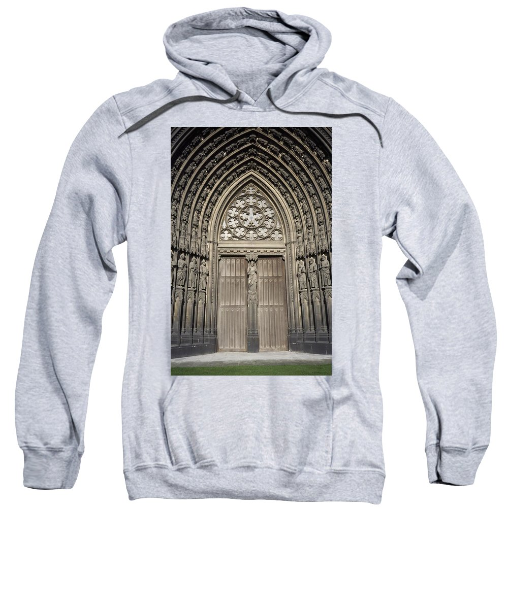 Photography Sweatshirt featuring the photograph Doorway Of St. Ouen Church by Axiom Photographic