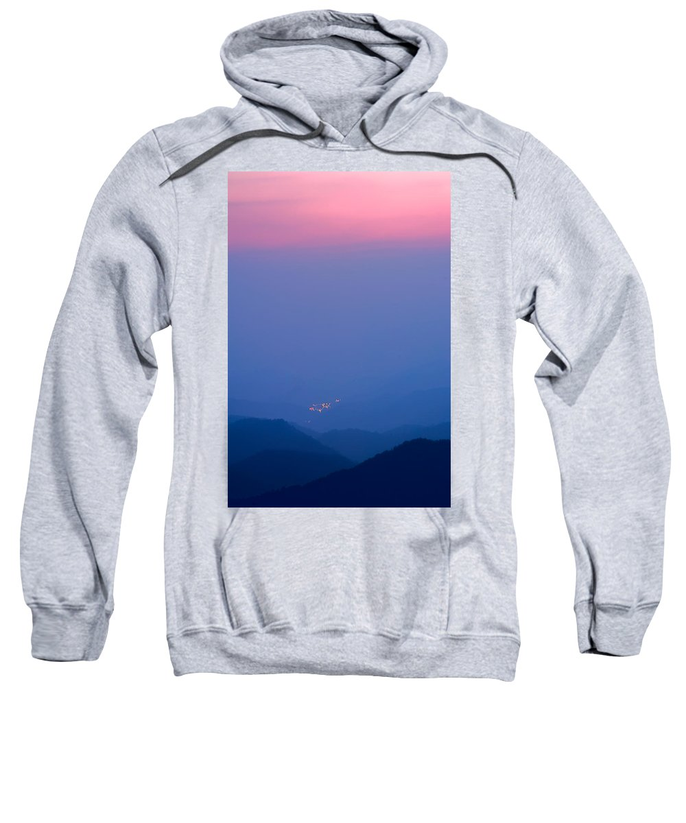 Pink Sky Over The Blue Valley Sweatshirt featuring the photograph Down In The Valley So Low by Randall Branham