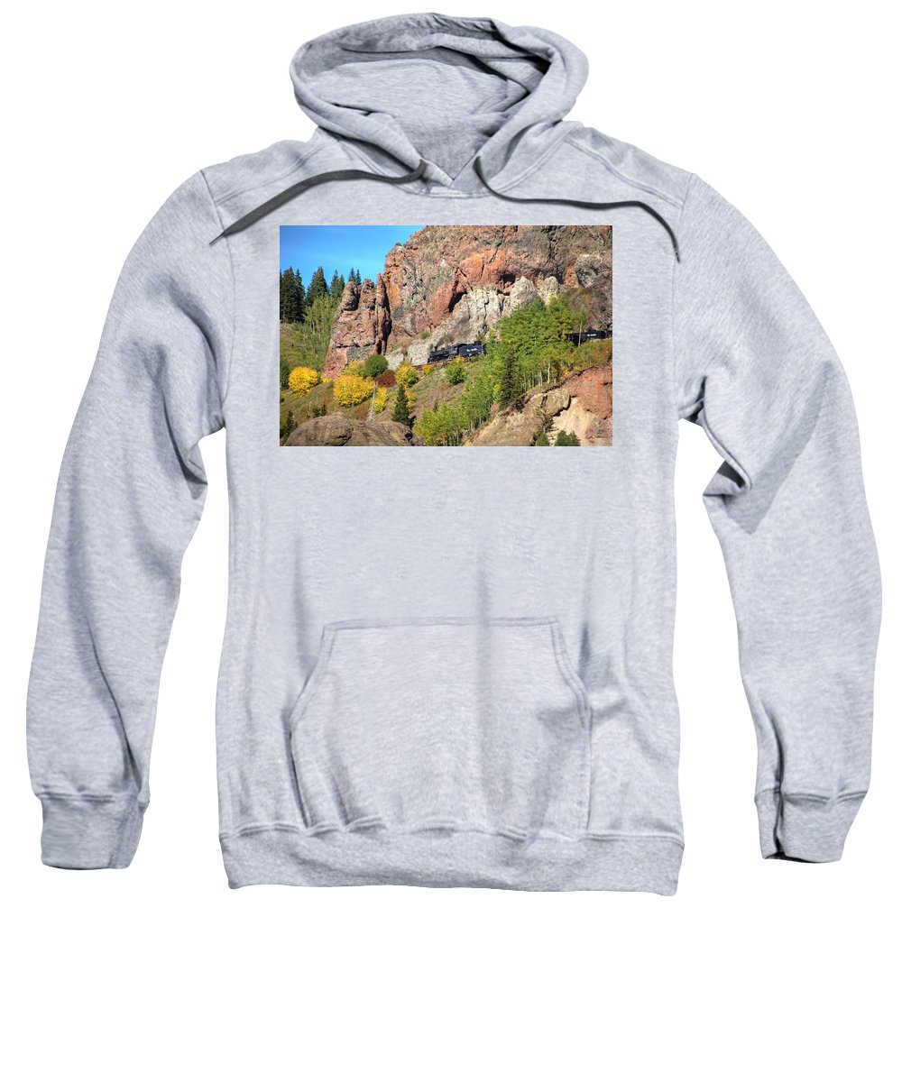 Steam Train Photographs Sweatshirt featuring the photograph Down Windy Point by Ken Smith
