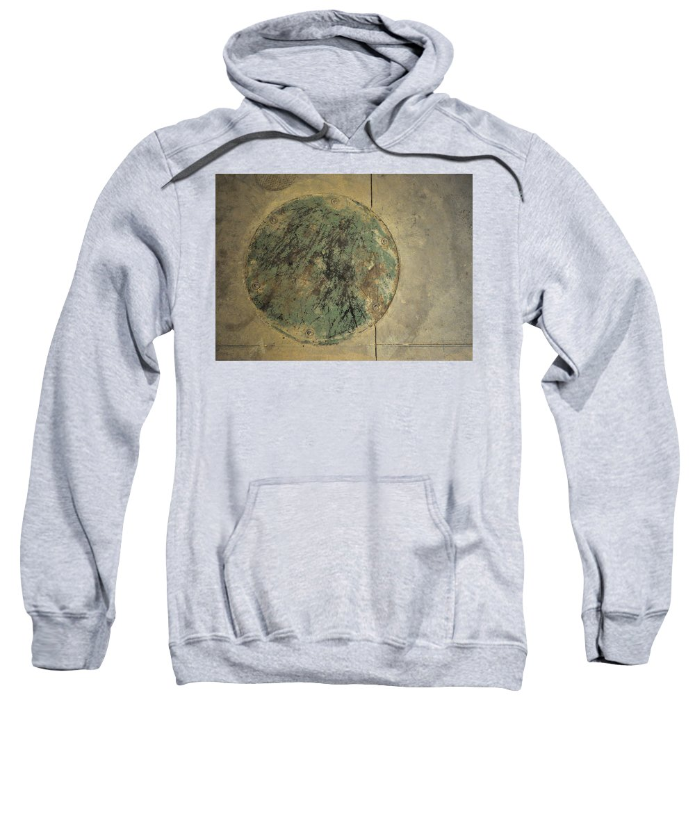 Circle Sweatshirt featuring the photograph Drain Cover In Cement by Tim Nyberg