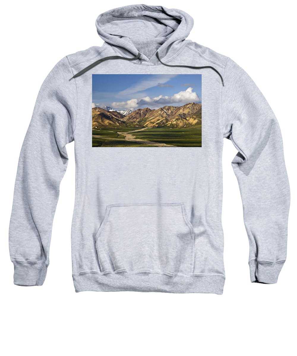 Early Morning Denali Sweatshirt featuring the photograph Early Morning Denali by Wes and Dotty Weber
