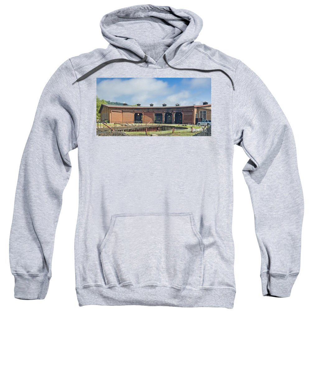 East Broad Top Sweatshirt featuring the photograph East Broad Top Roundhouse by Tim Mulina