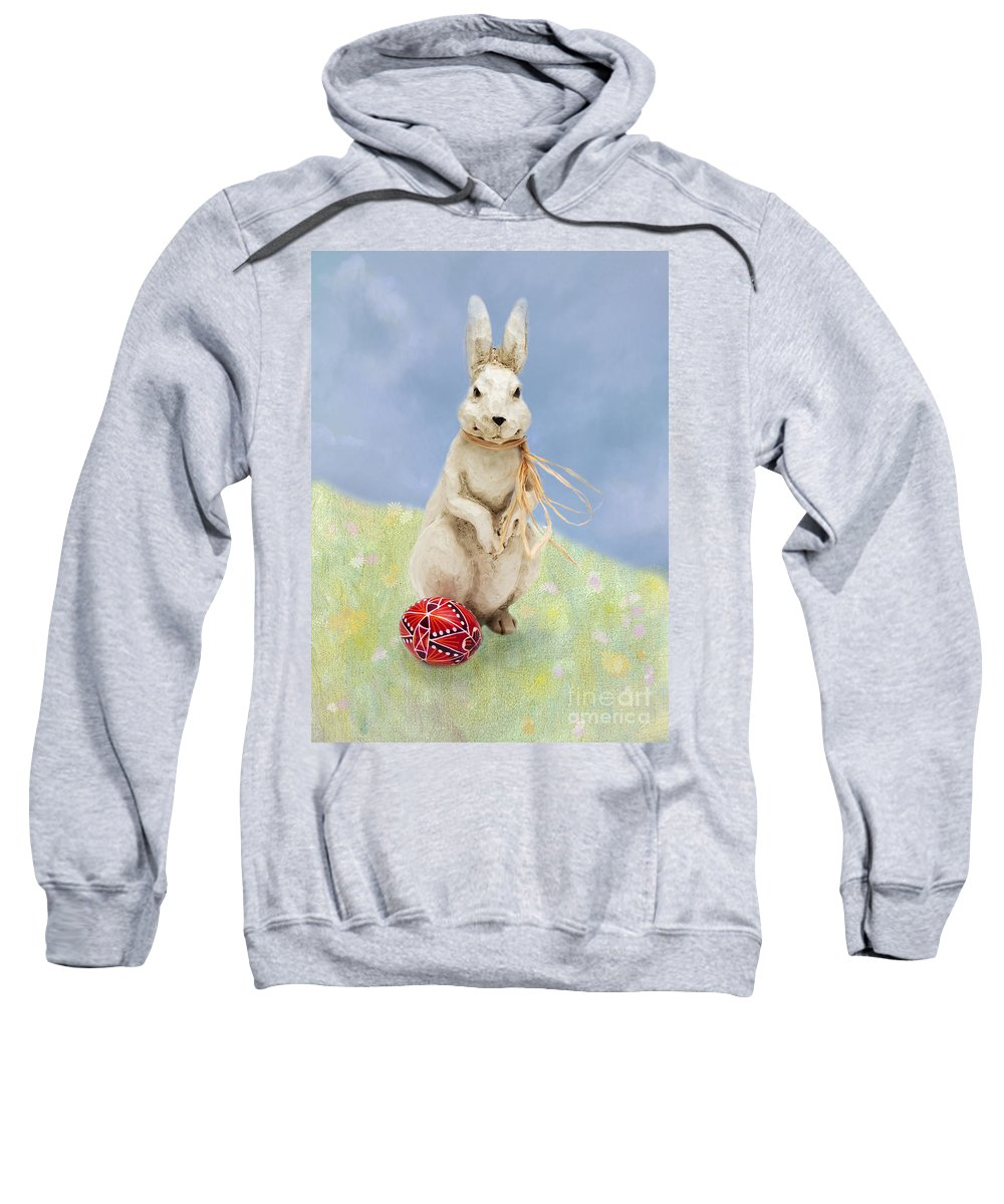 Easter Sweatshirt featuring the photograph Easter Bunny With A Painted Egg by Louise Heusinkveld