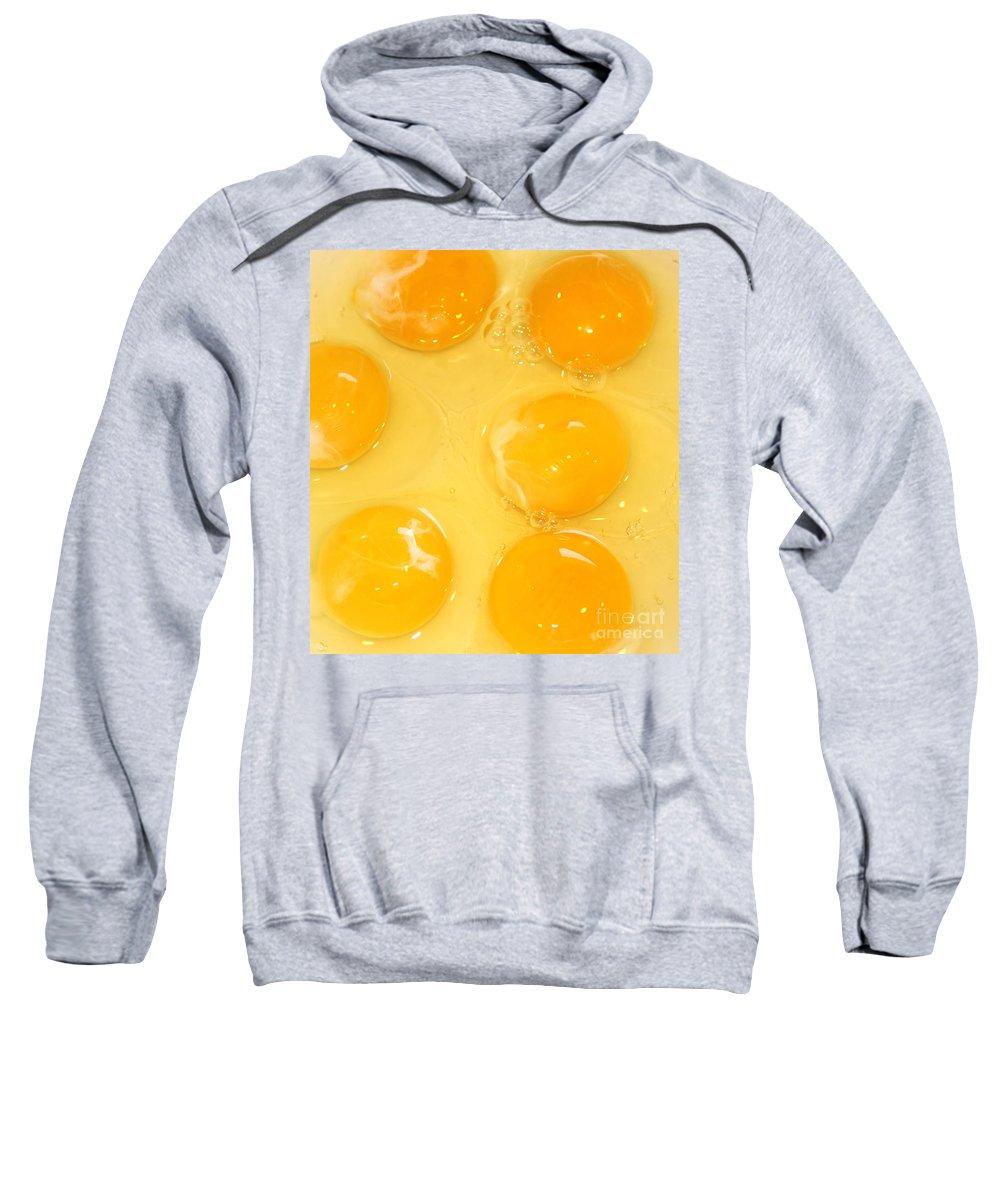 Egg Sweatshirt featuring the photograph Eggs Yolk by Henrik Lehnerer