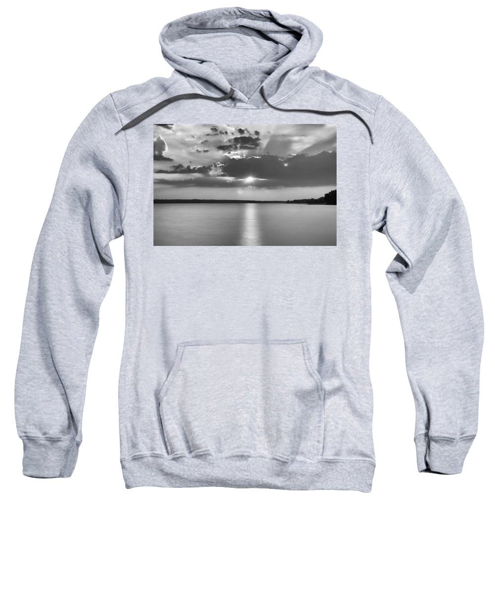 Sunset Sun Clouds B&w black And White Lac Lake sunset Over Lake b&w Sunset Aylmer lac Desch�nes Deschenes Desch�nes Sweatshirt featuring the photograph End Of Day by Eunice Gibb