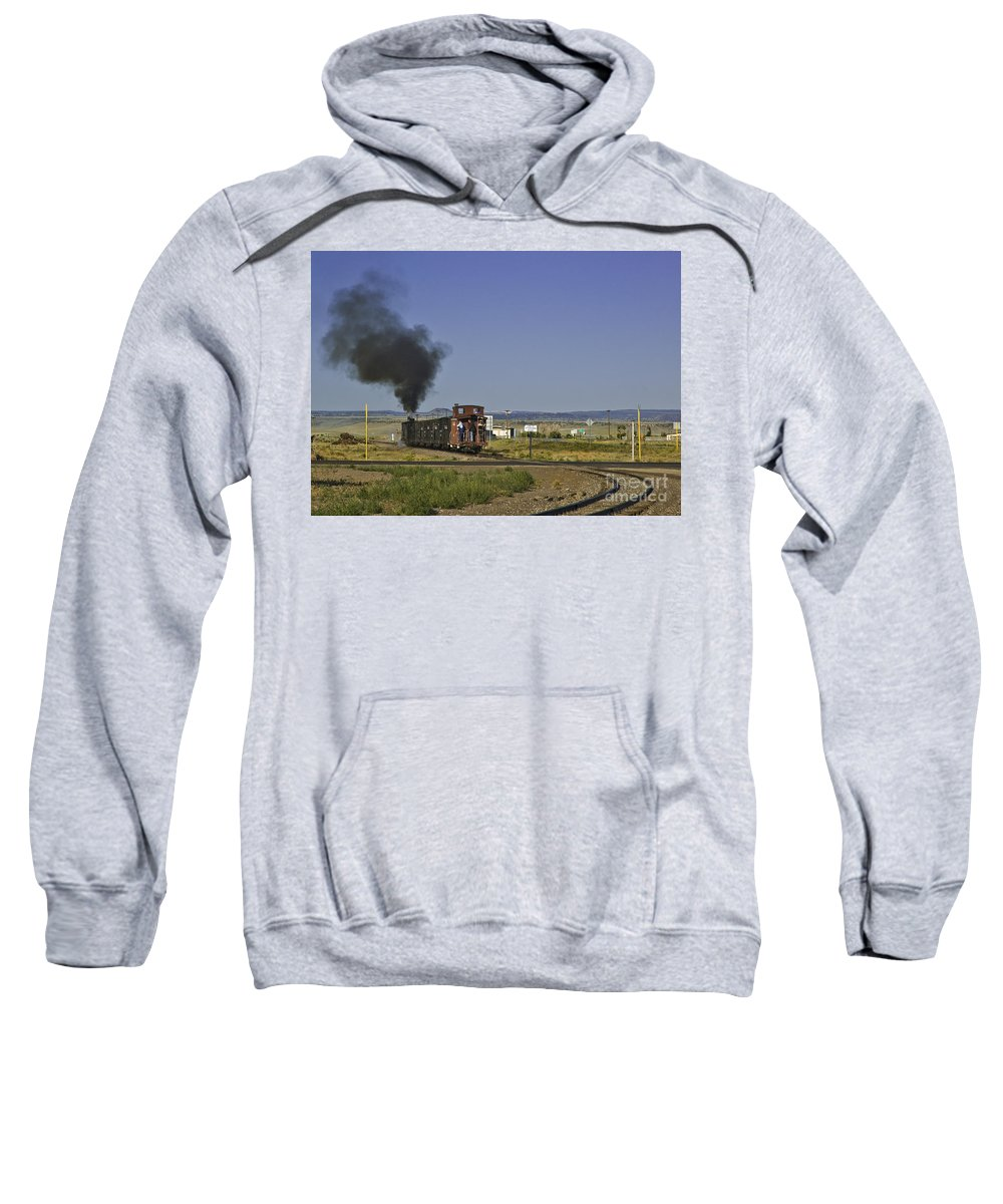 Cumbres & Toltec Sweatshirt featuring the photograph End Of Standard Gauge by Tim Mulina