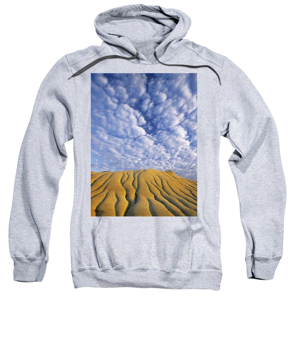 Light Sweatshirt featuring the photograph Erosion Channels On Rock, Red Deer by Darwin Wiggett