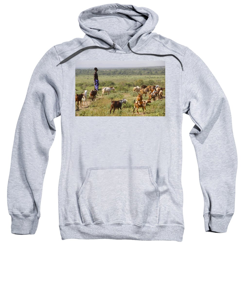 Africa Sweatshirt featuring the painting Ethiopia-south Tribal Goat Herder by Robert SORENSEN