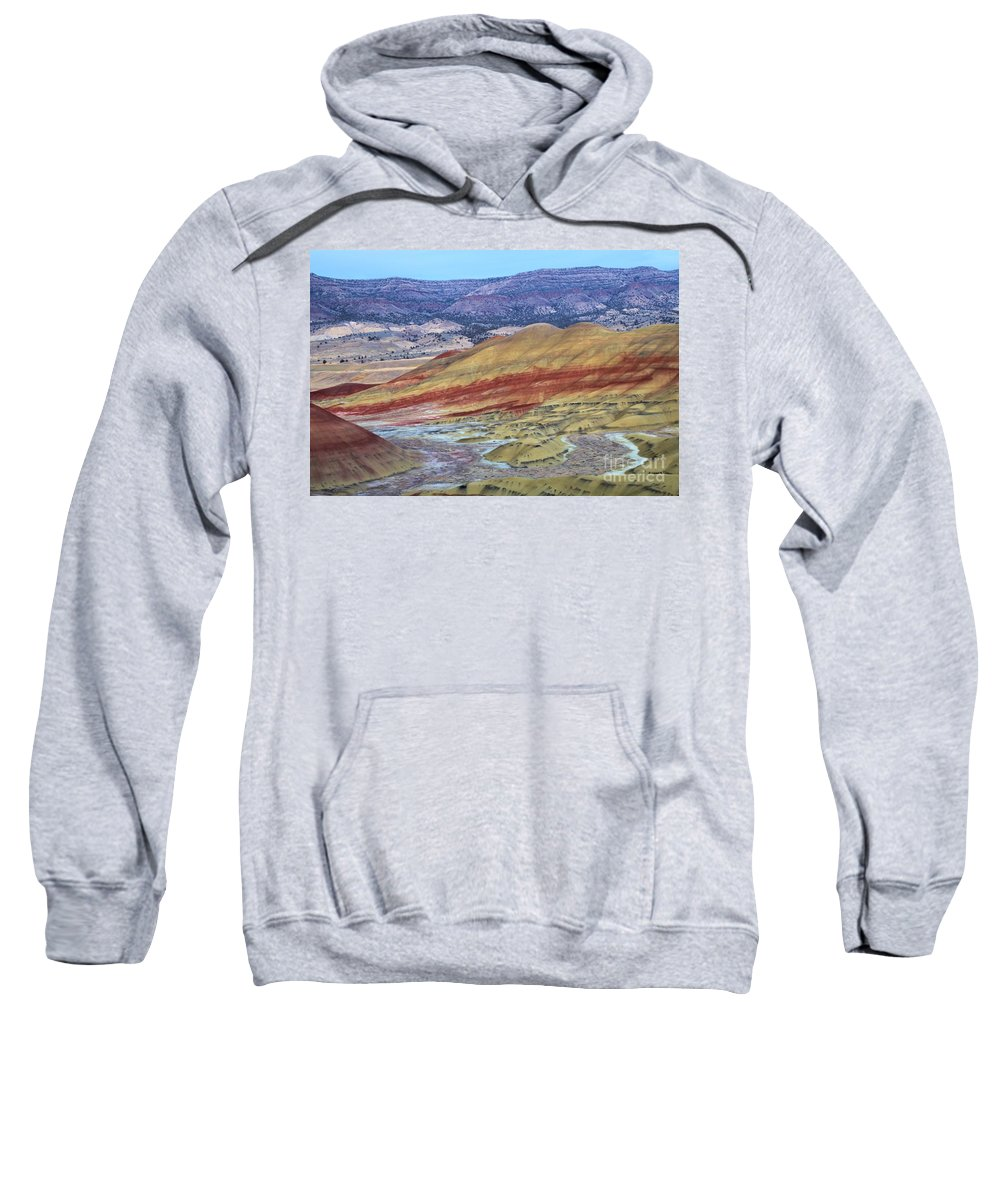 John Day Fossil Beds Sweatshirt featuring the photograph Evening In The Painted Hills by Adam Jewell
