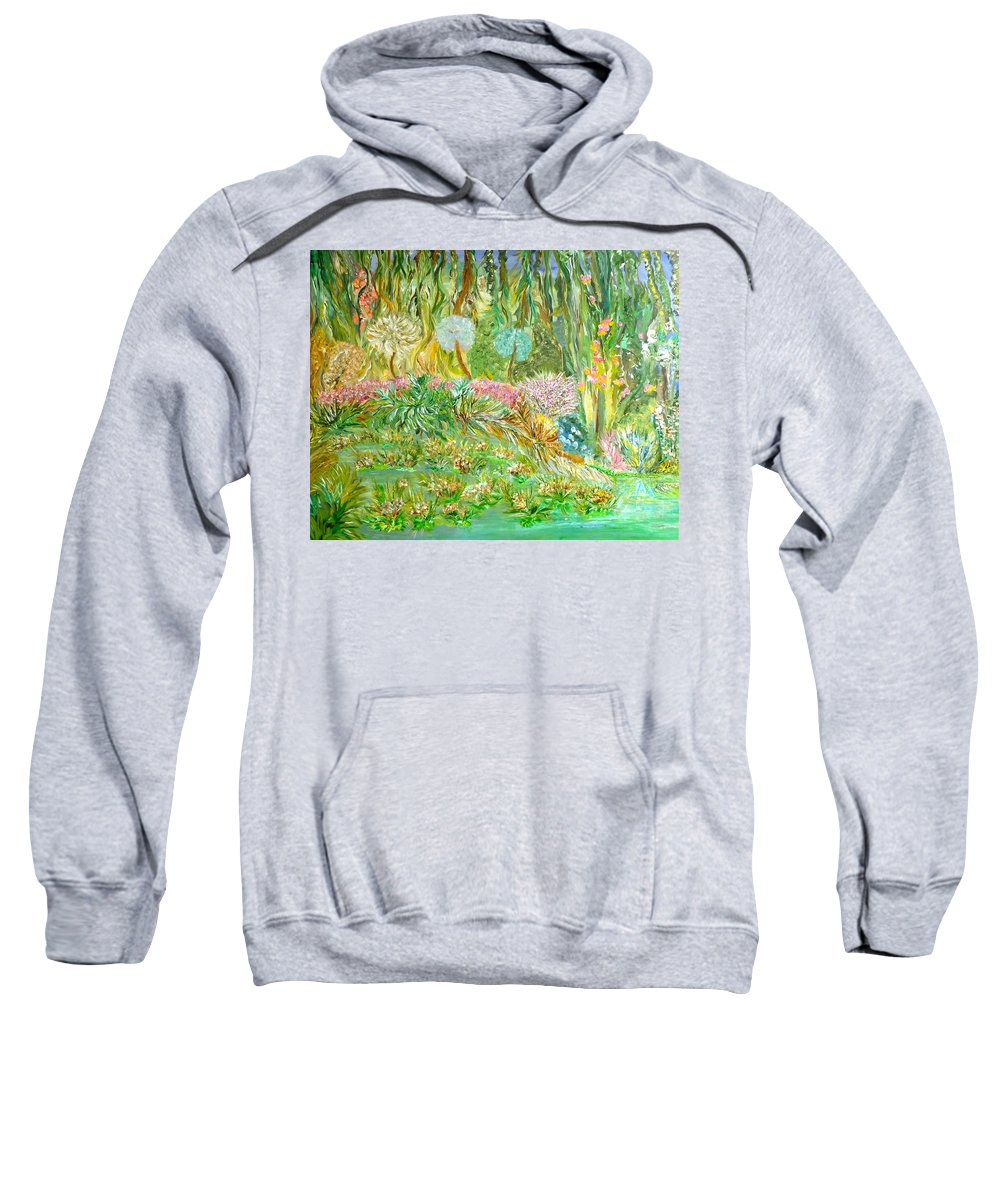Whimsical Landscape Sweatshirt featuring the painting Eye Candy by Sara Credito