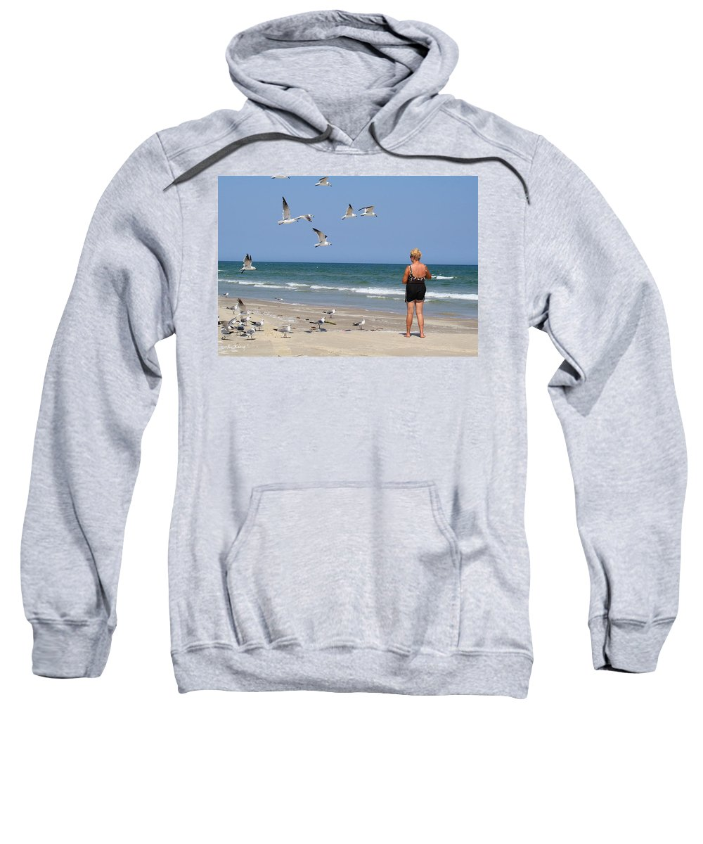Roena King Sweatshirt featuring the photograph Feeding The Sea Gulls by Roena King