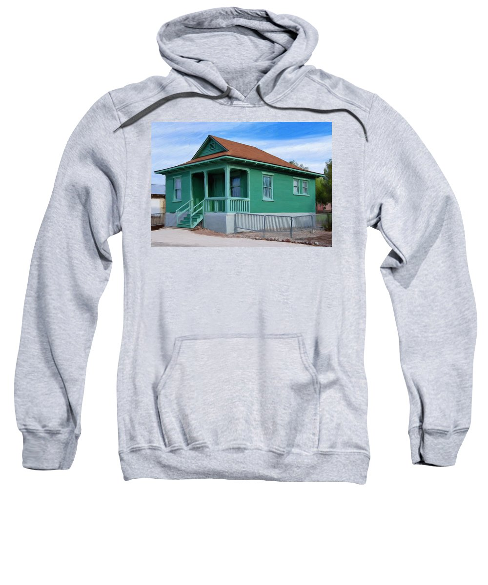 Old House Sweatshirt featuring the painting Fenced Yard by Dominic Piperata