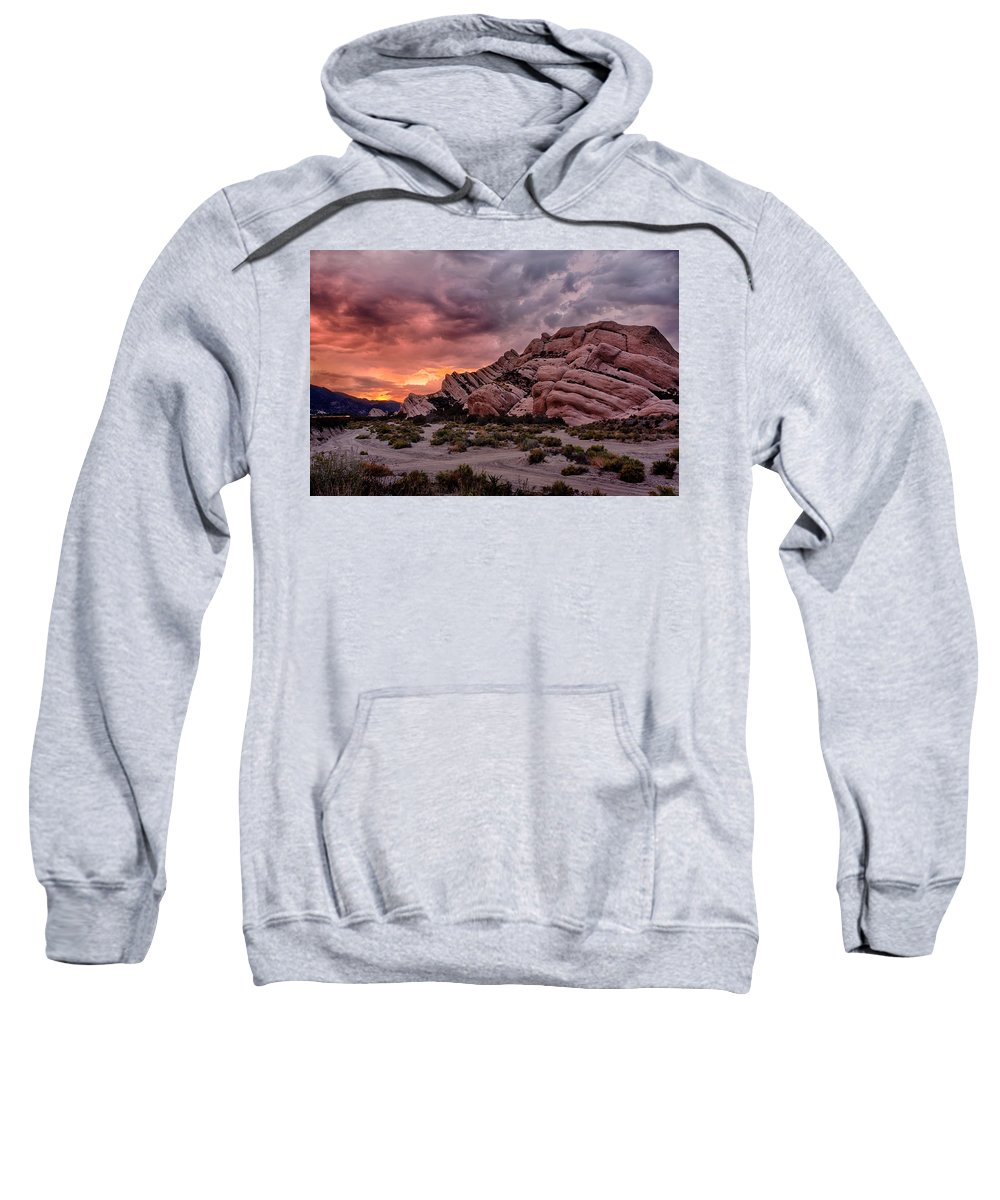Cajon Pass Sweatshirt featuring the photograph Fiery Mormon Rock by Peter Tellone