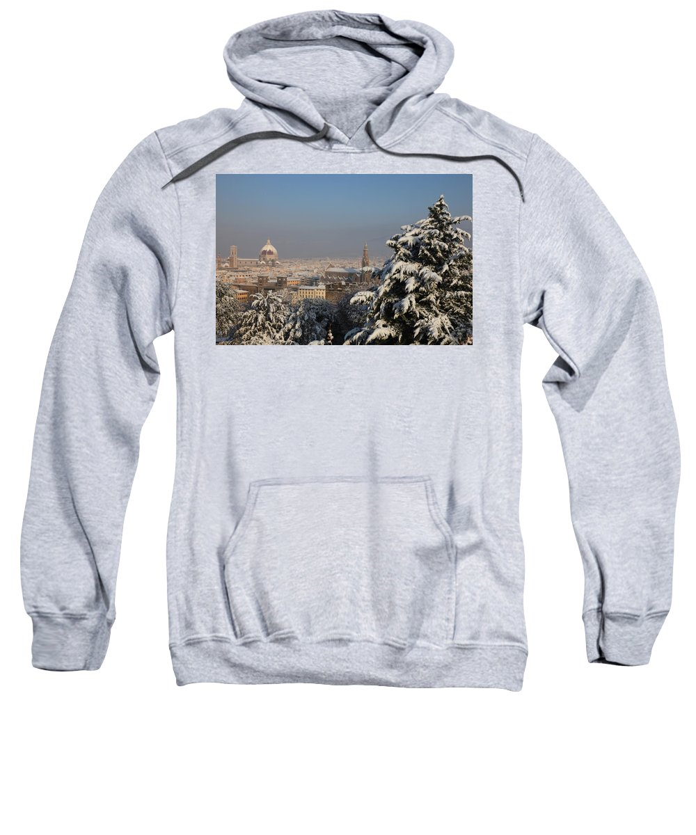 Snow Sweatshirt featuring the photograph Firenze Under The Snow by Francesco Scali