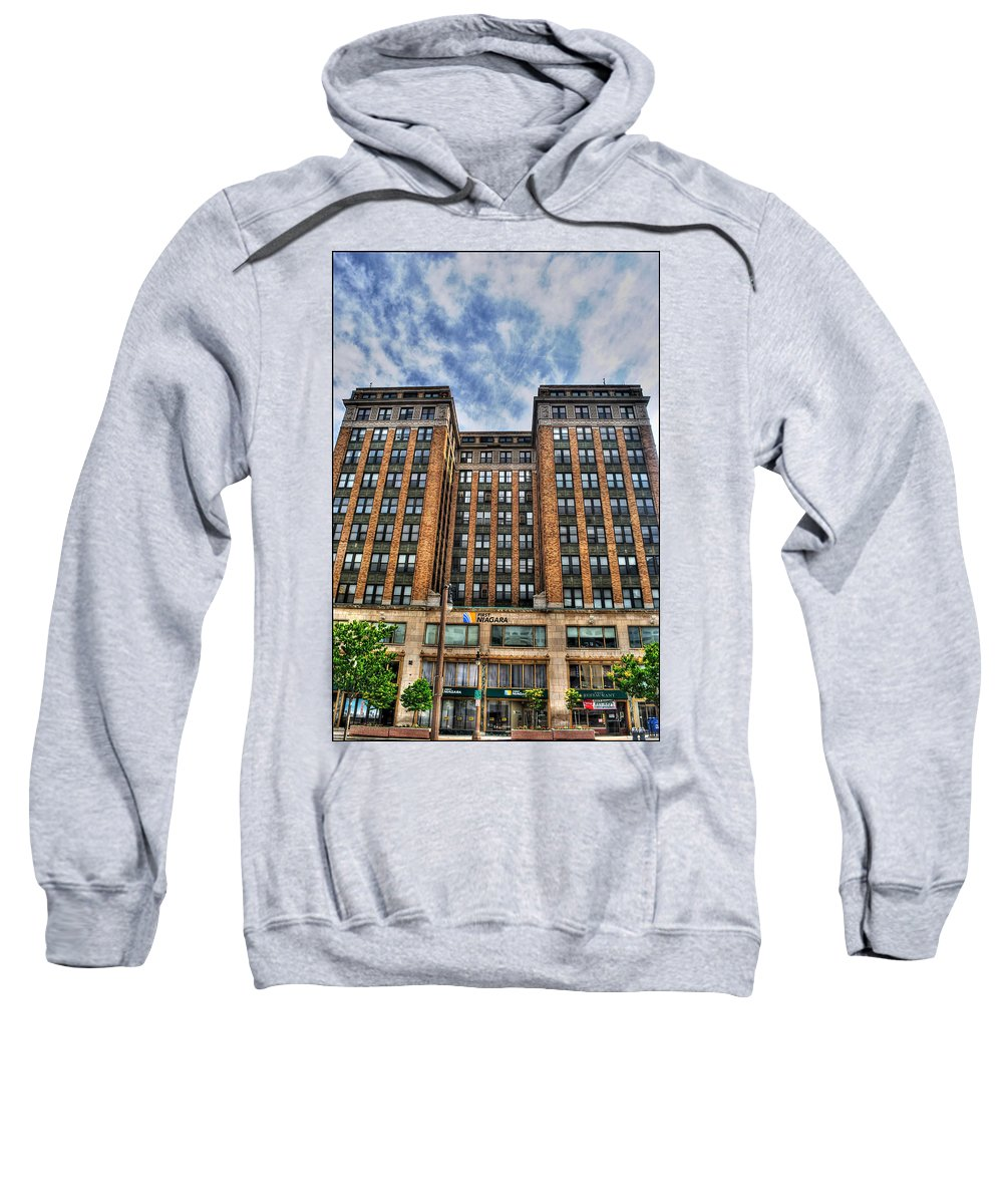 Sweatshirt featuring the photograph First Niagara Building With Takis by Michael Frank Jr