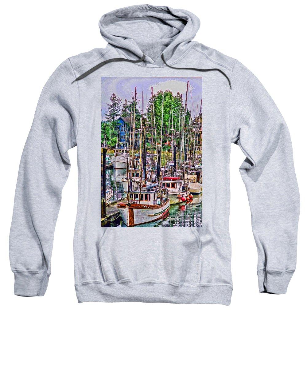 Boats Sweatshirt featuring the photograph Fishing Docks Hdr by Randy Harris