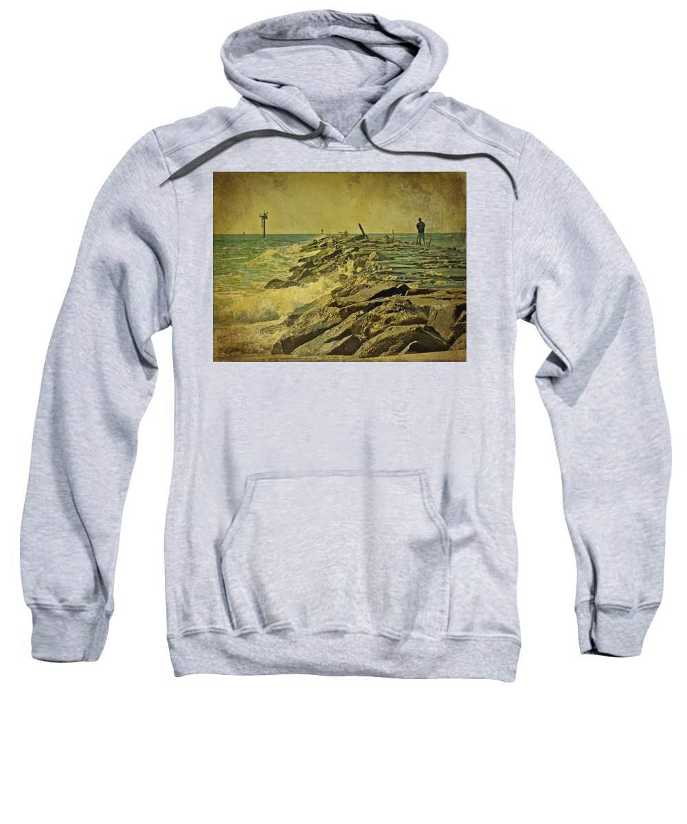 Jetty Sweatshirt featuring the photograph Fishing The Jetty - Island Beach State Park  Nj by Mother Nature