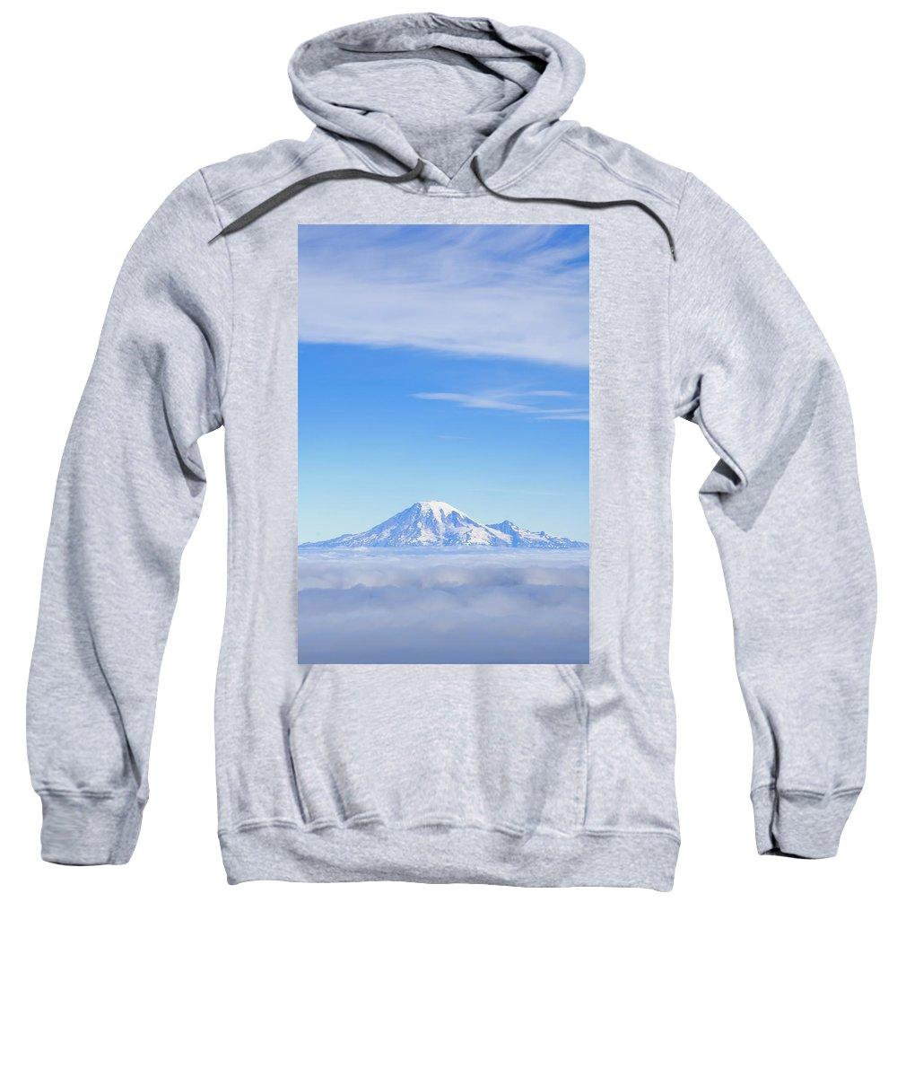 Cloudy Sweatshirt featuring the photograph Fog, Mount Rainier, Washington by Dan Sherwood