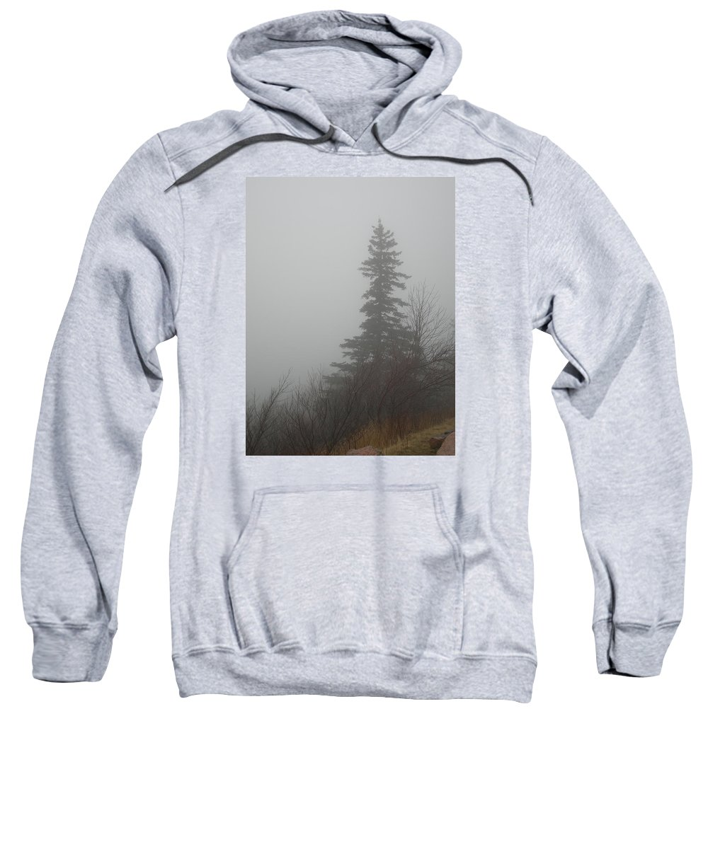 Maine Sweatshirt featuring the photograph Foggy Sentinel by Skip Willits