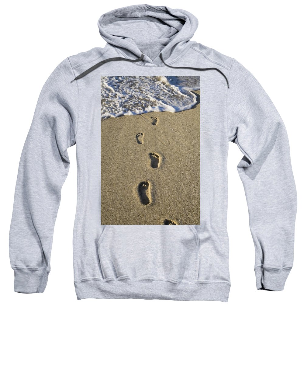 Close Sweatshirt featuring the photograph Footprints In The Sand by David Chapman