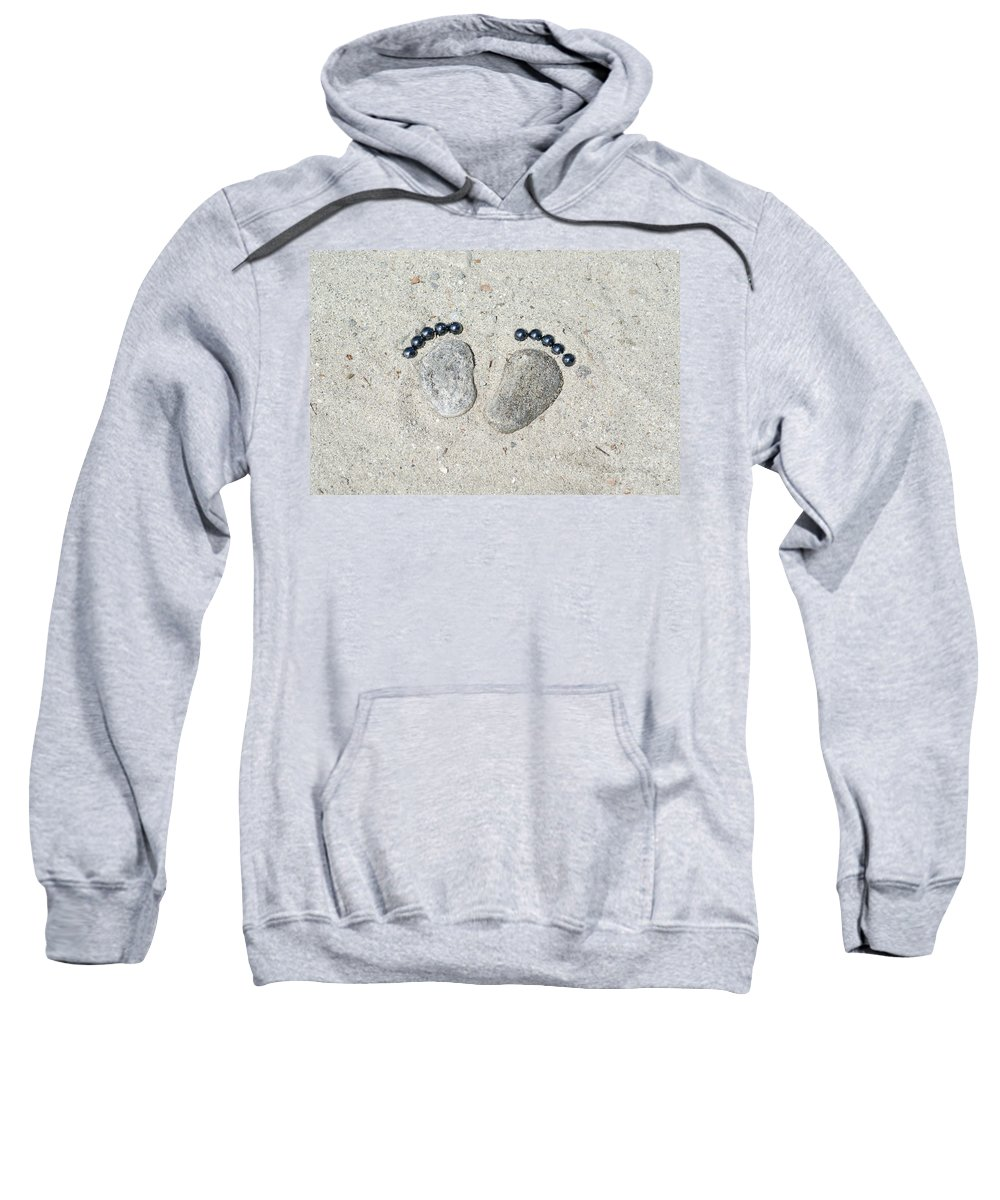 Footprints Sweatshirt featuring the photograph Footprints Made Of Stones In The Sand by Mats Silvan