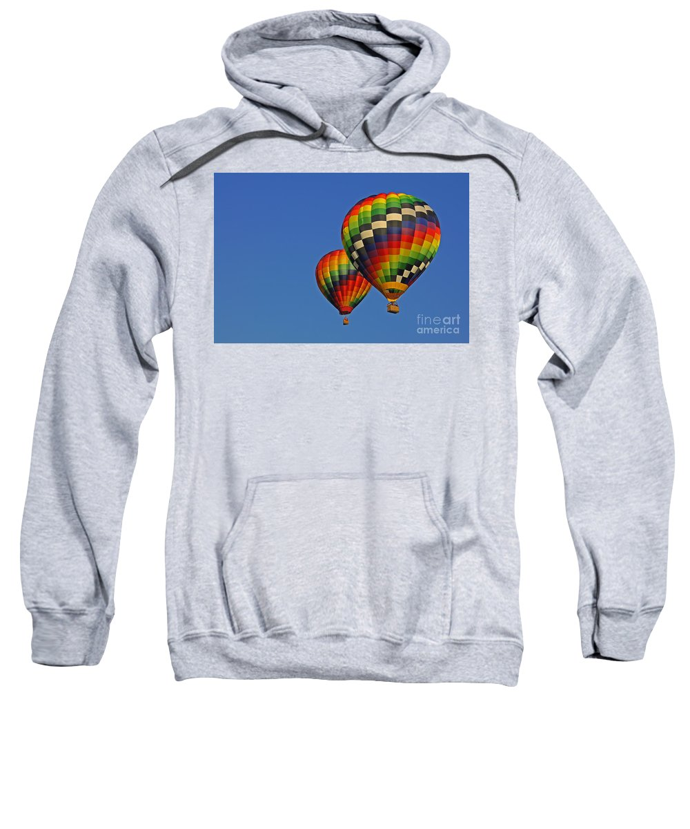 Hot Air Balloon Sweatshirt featuring the photograph Fraternal Twin Balloons by Benanne Stiens