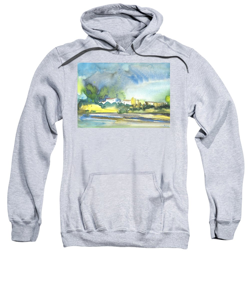 Travel Sweatshirt featuring the painting French Village 01 by Miki De Goodaboom